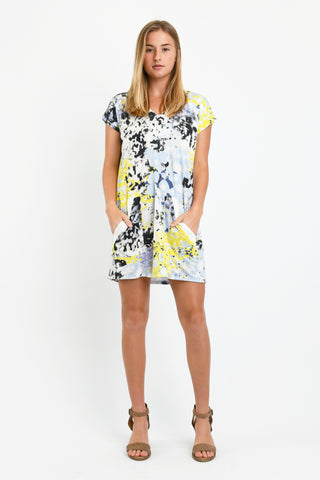Dawn V-Neck Dress (Yellow Ink Blot)