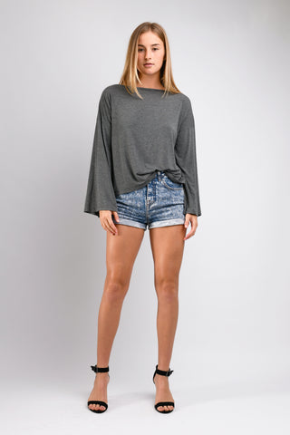 Dee Dee Wide Sleeve Top (Charcoal)