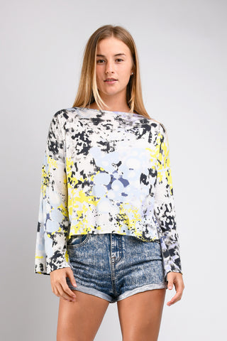 Dee Dee Wide Sleeve Top (Yellow Ink Blot)