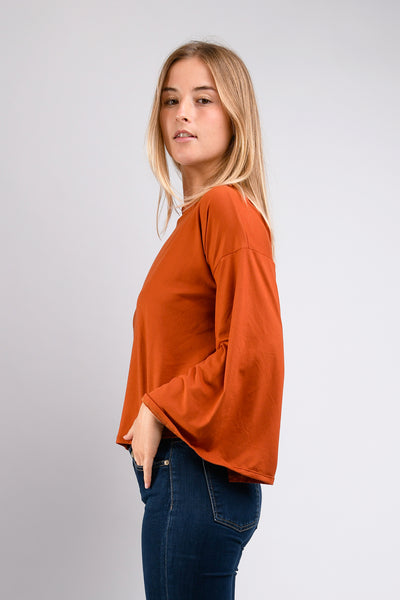 Dee Dee Wide Sleeve Top (Rust)