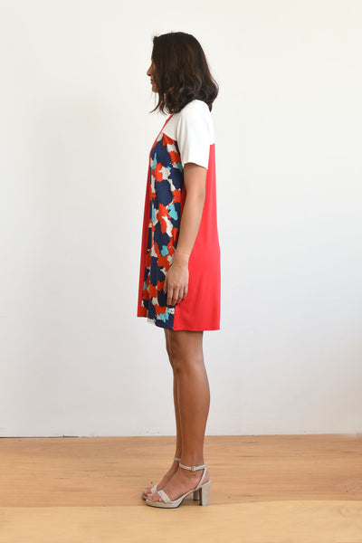 Samantha Dress (Red/Splash Print)