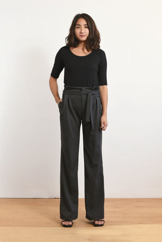 Paige Paper-bag Trouser (Charcoal)