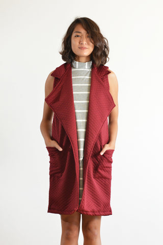 Ann Long Vest (Burgundy Quilt)