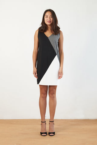 Kimberly Color-block Dress (Black/Charcoal)