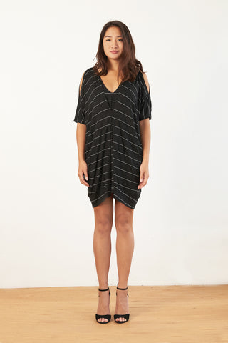 Malia Kaftan Dress (Black Stripe)
