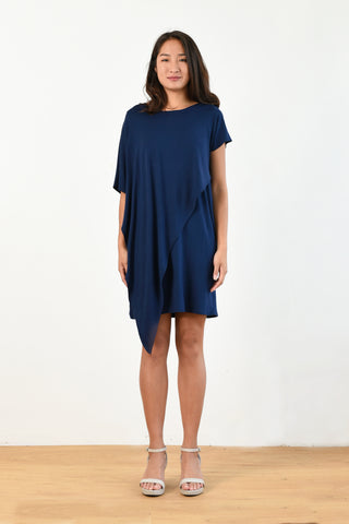 Sienna Asymmetrical Dress (Navy)