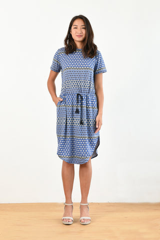 Mark Tie Waist Dress (Diamond Print)