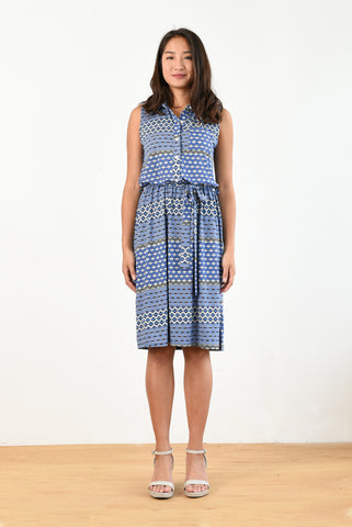 Kira Polo Dress w/ Belt (Diamond Print)