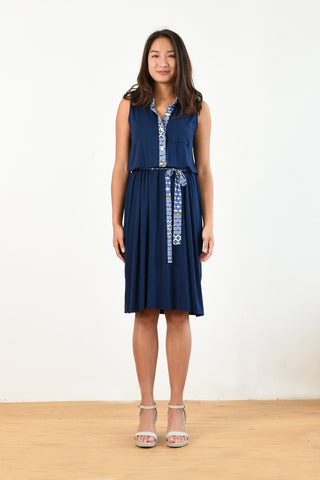 Kira Polo Dress w/ Belt (Navy)