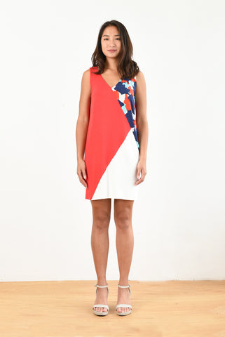Kimberly Color-block Dress (Red/Splash Print)