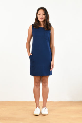 Drew Layered Tank Dress (Navy)