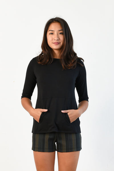 Meg Boatneck Top (Black)