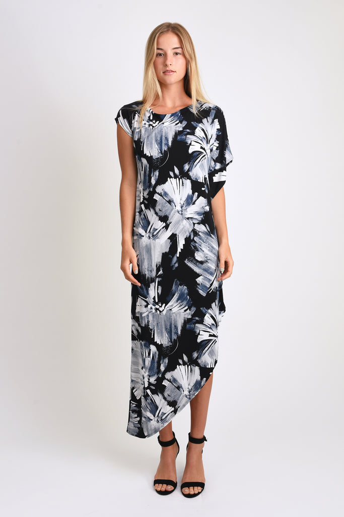 Lola Asymmetric Maxi (Blue Abstract Floral Paint)