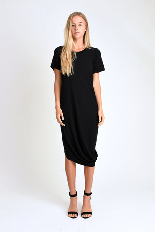 Roxanne Asymmetrical T-Shirt Dress (Black)