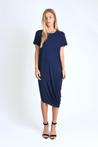 Roxanne Asymmetrical T-Shirt Dress (Navy)