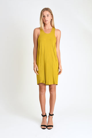 Melanie Cape-back Dress (Mustard)