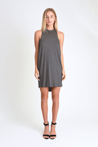 Chad Layered Tank Dress (Navy Stripe)