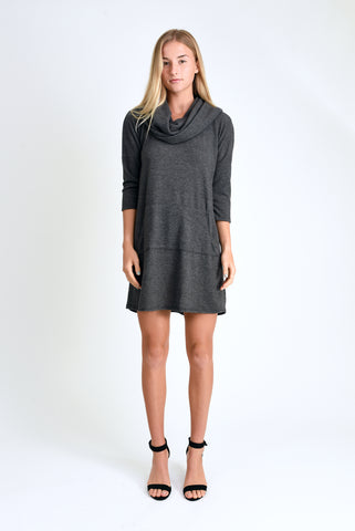 Stella Sweater Dress (Charcoal Sweater Knit)