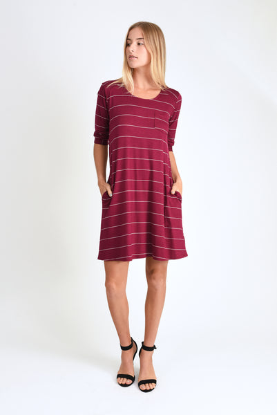 Jordan Dress (Wine Stripe)