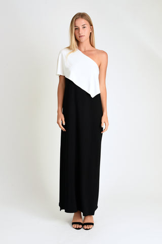 Christa One Shoulder Maxi (Ivory/Black)