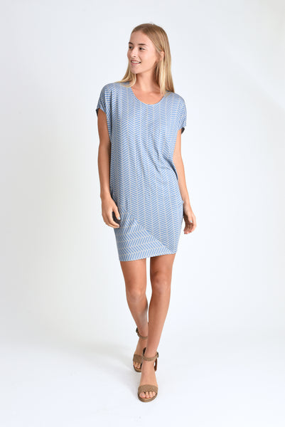 Kit Dress (Blue Herringbone)