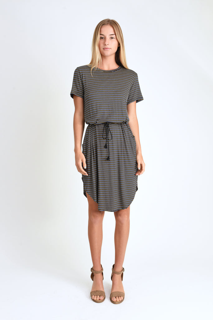 Mark Tie Waist Dress (Navy Stripe)