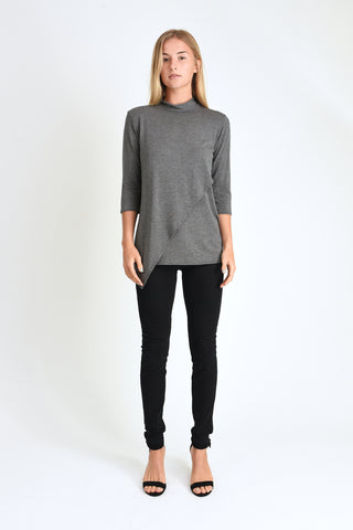 Gwen high neck top (Charcoal)