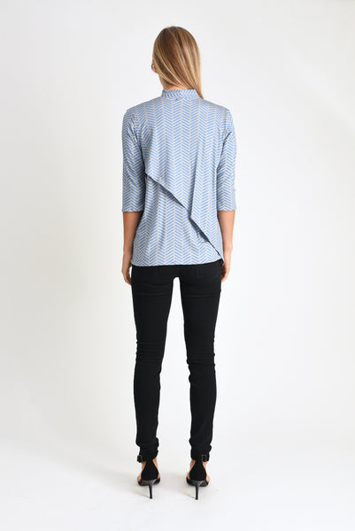 Gwen High-Neck Top (Blue Herringbone)