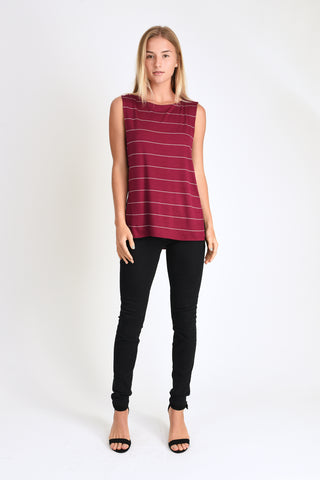 Courtney Layered Tank (Wine Stripe)