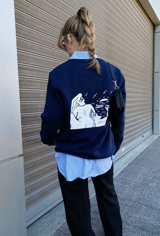 falling - navy blue sweatshirt