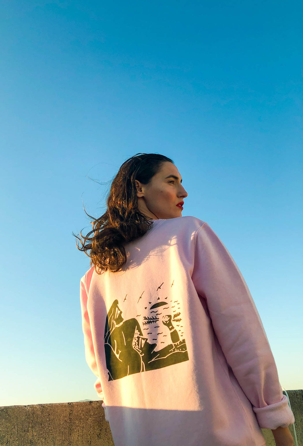 falling - cotton pink sweatshirt