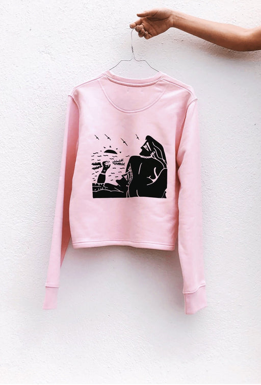 falling - cotton pink sweatshirt / no waistband