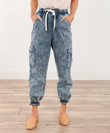 Acid Washed Denim Joggers