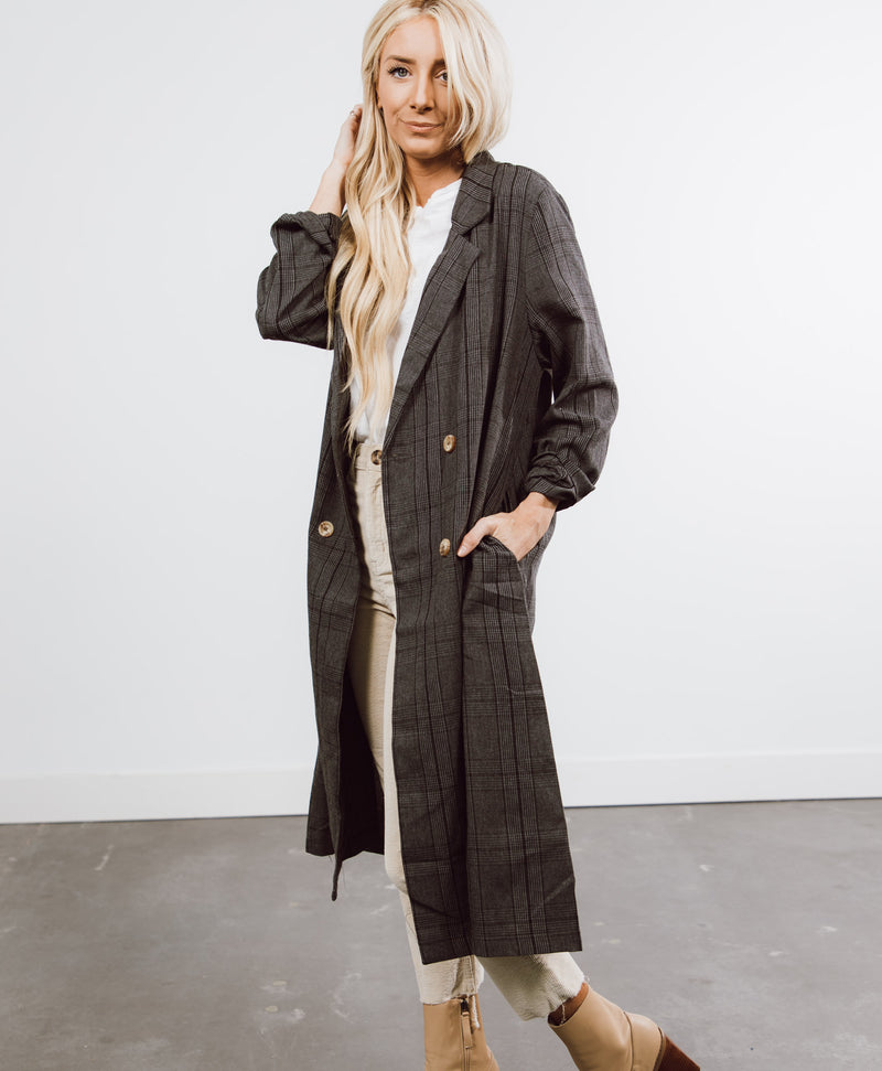 Mariah Long Plaid Coat
