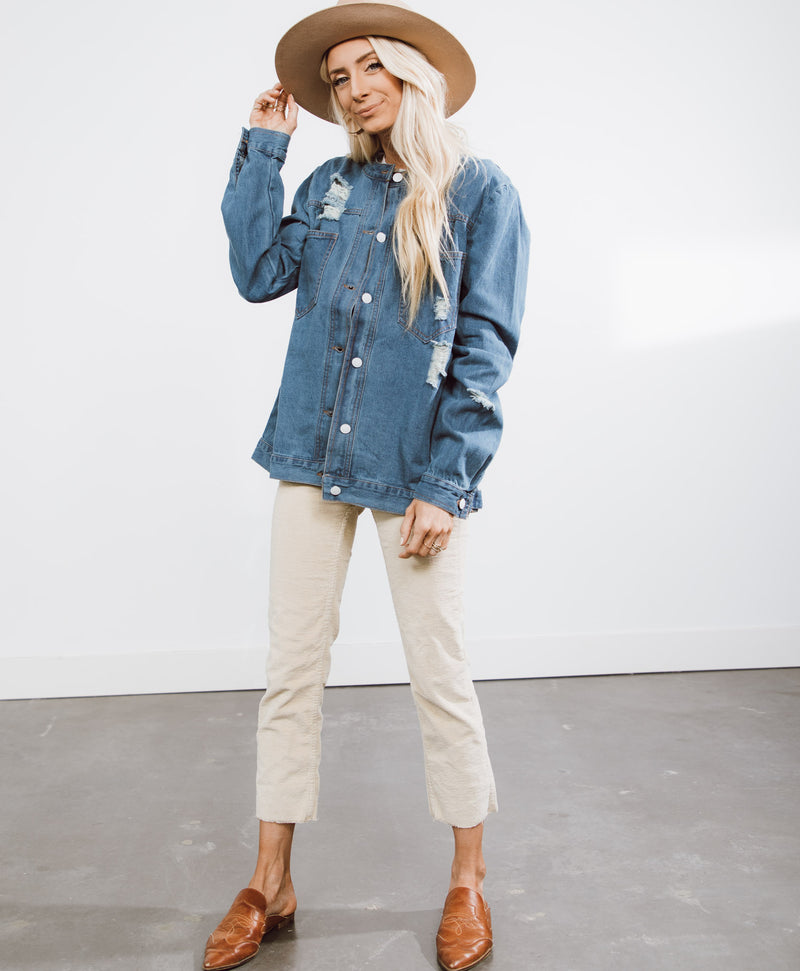 Jessica Distressed Denim Jacket