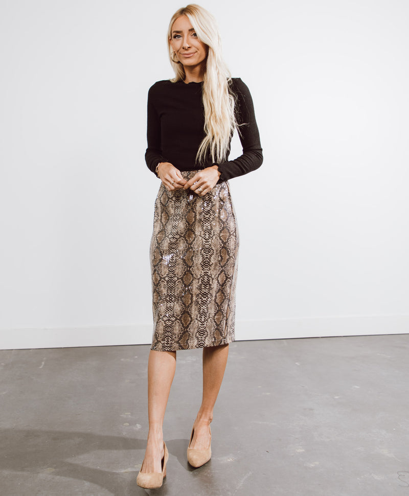 Sequin Snakeskin Pencil Skirt