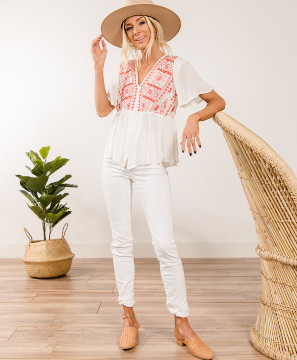 Nora Embroidered Top