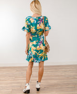 Tropical Floral Wrap Dress