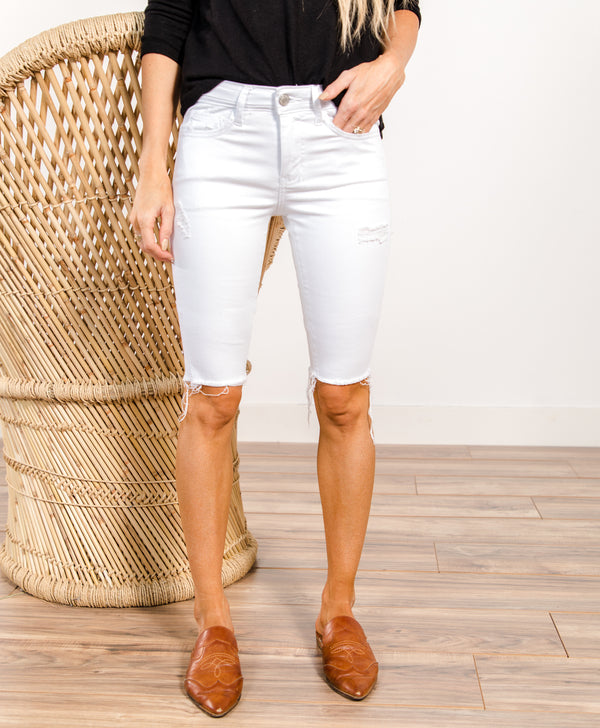 Safa White Bermuda Shorts