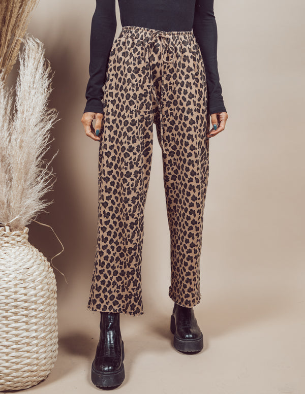 Leopard Print Wide Leg Sweatpants