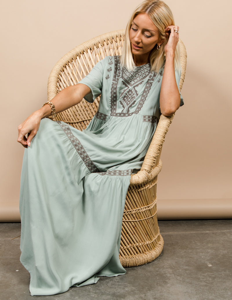 Derek Embroidered Maxi Dress