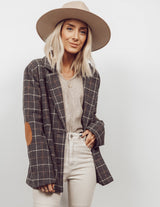 Brenda Plaid Elbow Patch Blazer