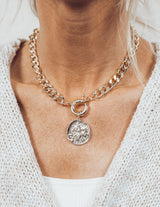 Curb Chain Coin Choker Necklace