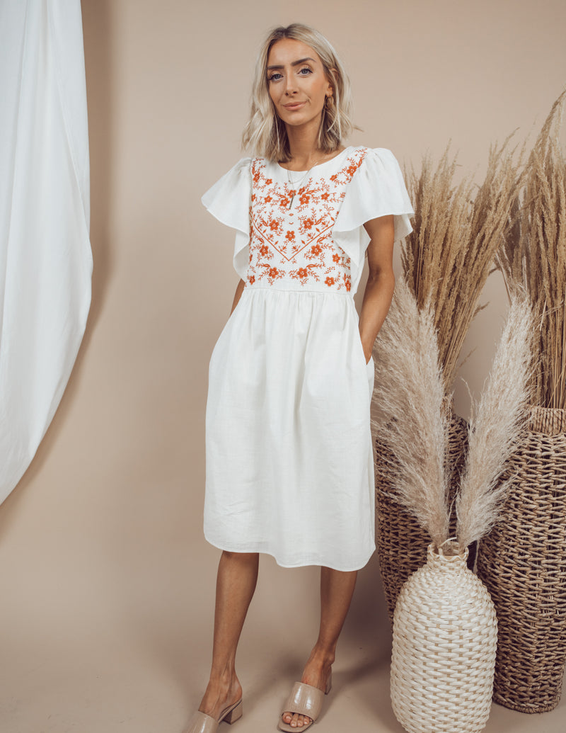 Damara Embroidered Midi Dress