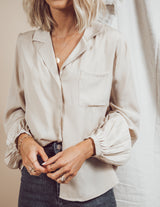 Gianna Satin Lapel Shirt