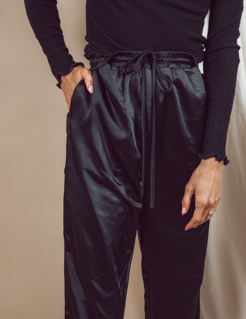 Satin High Waisted Joggers