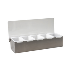 COCKTAIL CADDY  S/STEEL 5 COMPARTMENT