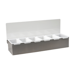 COCKTAIL CADDY  S/STEEL 6 COMPARTMENT