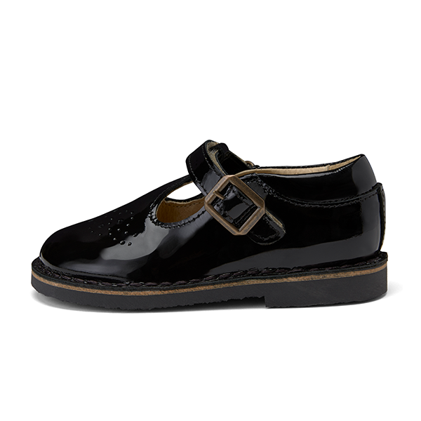 young soles penny t-bar - black patent leather - freddie the rat kids boutique