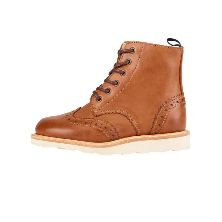 young soles sidney brogue boot - burnished tan - freddie the rat kids boutique